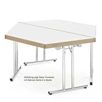 Trapeztisch, Klapptischgestell Modell MEN, HPL Schichtstoffplatte mit Massivholzkante oder Rahmen