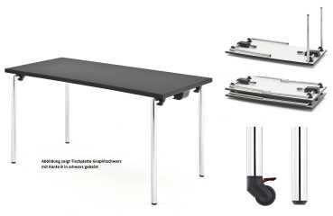 Rechtecktisch, Klapptischgestell Modell DEMUS 2, HPL Schichtstoffplatte mit Massivholzkante oder Rahmen